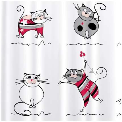Штора для ванной Tatkraft Funny Cats 14022 Белый