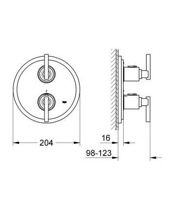 Смеситель для встраиваемой системы Grohe Atrio Jota 19399000 серебристый