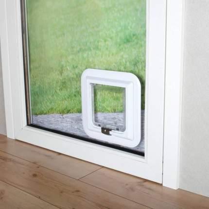 Дверца для кошек и собак TRIXIE 4-Way Cat Flap, для стеклянных дверей, 17,4х18,5см