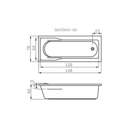 Акриловая ванна Cersanit WP-SANTANA*140-W