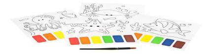 Набор для творчества Bondibon раскраска с палитрой ( морские обитатели )