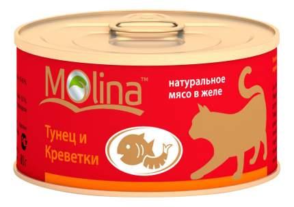 Консервы для кошек Molina, с тунцом и креветками в желе, 12шт по 80г