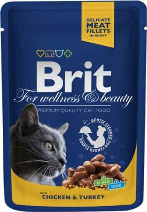 Влажный корм для кошек Brit Premium, курица, индейка, 100г