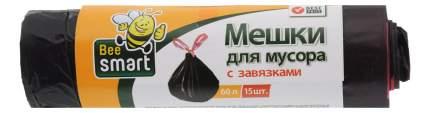 Мешки для мусора Матреша 60 л черный, 15 шт., с завязками