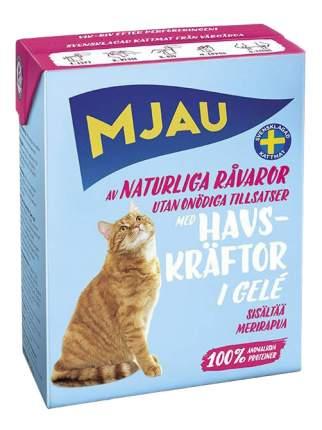 Влажный корм для кошек Mjau Chunks in Jelly, мясные кусочки в желе с лангустом, 380г
