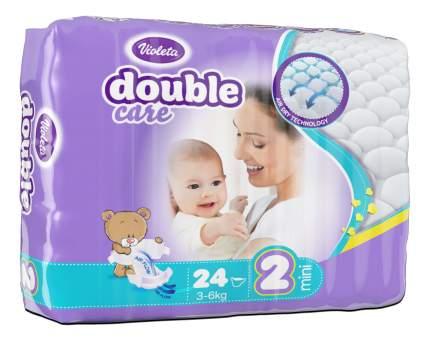 Подгузники для новорожденных VIOLETA Double Care 2 MINI (3-6 кг) 24 шт.