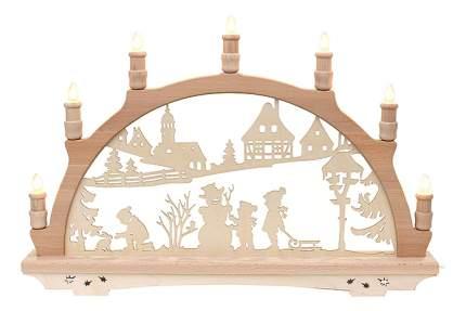 Sigro Рождественская горка Детвора в ожидании праздника 57*38 см, семисвечник 72 0906