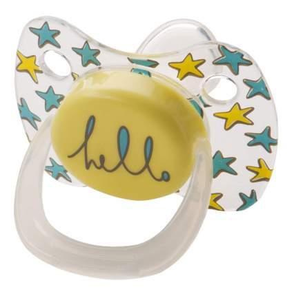 Соска-пустышка силиконовая ортодонтической формы с колпачком Happy Baby