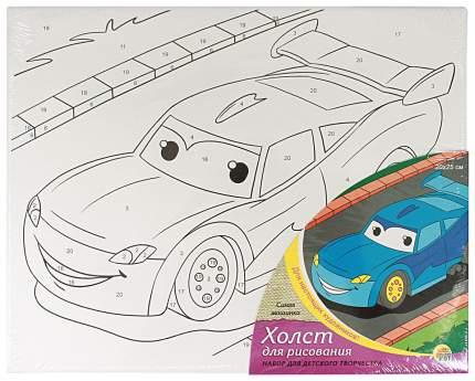 Раскраска по номерам Рыжий кот Синяя машинка 20х25 см х-1658