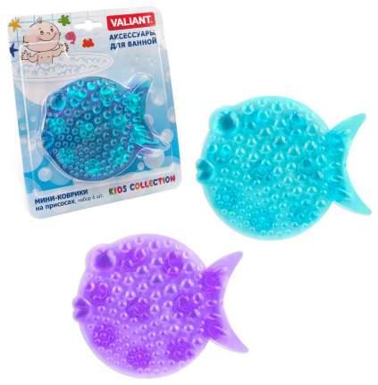 Мини-коврик для ванной Valiant Kids Collection Рыбка На присосках Розовая, 6 шт