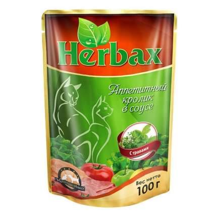 Влажный корм для кошек Herbax, аппетитный кролик в соусе с травами, 24шт по 100г