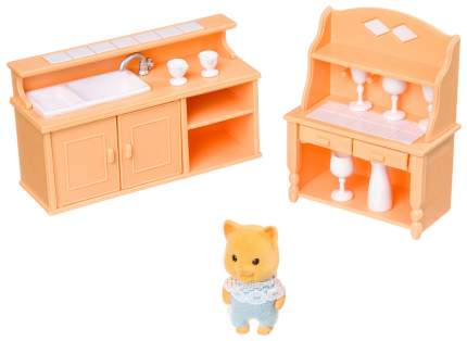 Игровой набор Happy Family с фигуркой зверюшки, кухня, 12,5х10х4 см, BOX, арт.012-03B.