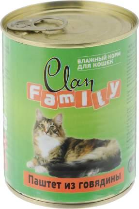 Консервы для кошек Clan Family, паштет из говядины, 340г