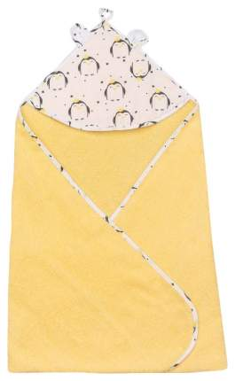 Полотенце детское с уголком AmaroBaby CUTE LOVE ПИНГВИНЫ (желтый), 90х90 см.