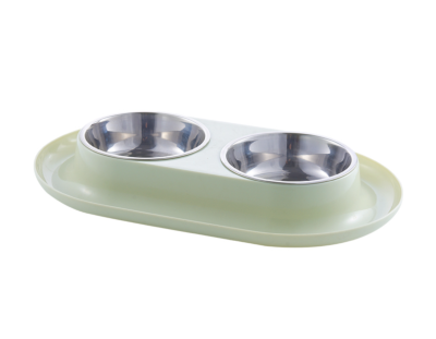 Двойная миска для домашних животных Nicovaer Спейс, зеленая, 10,5х7 см