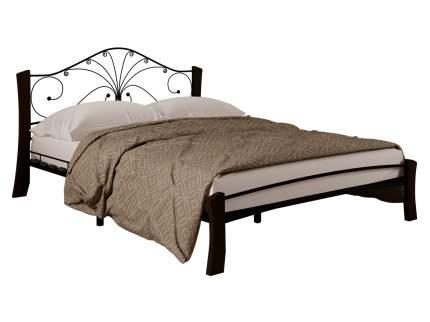 Двуспальная кровать Форвард-мебель Сандра Лайт, черный, шоколад, 140х200 см