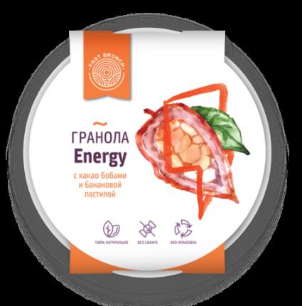 Гранола Fastbrunch с какао бобами и бананом Energy в биоразлагаемой тарелке 80 г