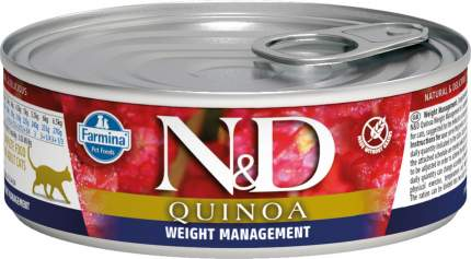 Консервы для кошек Farmina N&D Quinoa Weight Management диетические с ягненком и киноа 80г