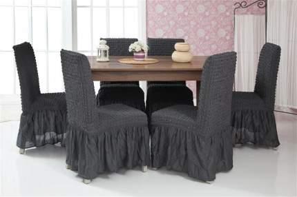 """Чехлы на стулья с оборкой Venera """"Chair cover"""", цвет: темно-серый 6 шт"""