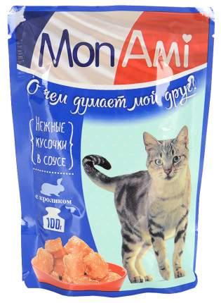 Влажный корм для кошек MonAmi Delicious, нежные кусочки в соусе с кроликом, 26шт по 85г
