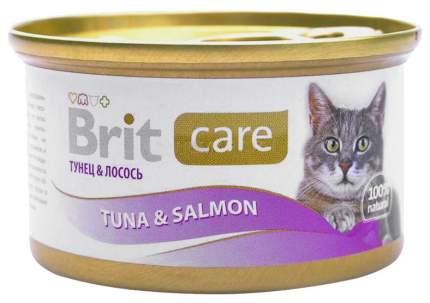 Консервы для кошек Brit Care, лосось, рыба, 48шт, 80г