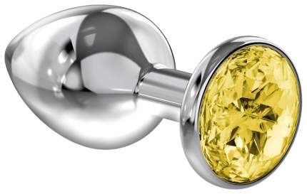 Малая серебристая анальная пробка Diamond Yellow Sparkle Small с жёлтым кристаллом 7 см