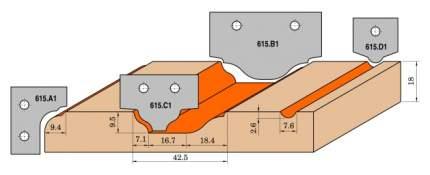 Нож твердосплавный 35x25x2 (профиль C1) CMT 615.C1