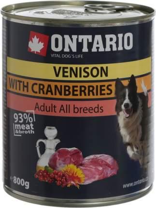 Консервы для собак Ontario, оленина и клюква, 800г