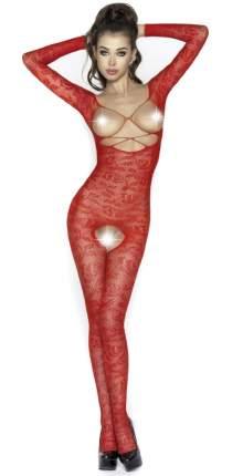 Комбинезон с длинными рукавами, цветочным узором, открытой грудью и доступом, красный