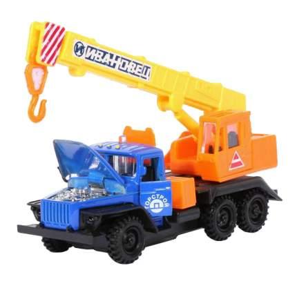 Машина Технопарк инерционная, металлическая УРАЛ синяя кабина, оранж.-желтая стрела