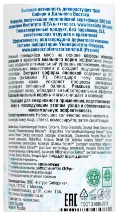 Мусс для лица Natura Siberica Увлажнение и баланс для жирной и комбинированной кожи 150 мл