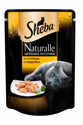 Влажный корм для кошек Sheba Naturalle из курицы и индейки, 80г х 24шт