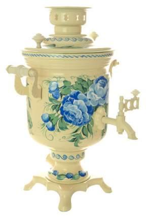 Самовар электрический Тула Голубые розы на молочном фоне 3 л