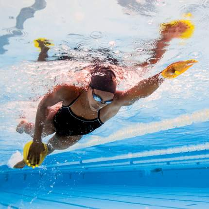 Лопатки для плавания Finis Agility Paddles 1.05.145 желтые L