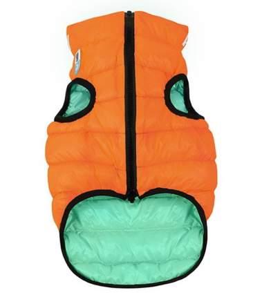 Куртка для собак AiryVest Lumi, двухсторонняя, оранжево-салатовая, светится в темноте, S40