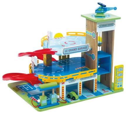 Большой гараж Le Toy Van с машинкой и вертолетом