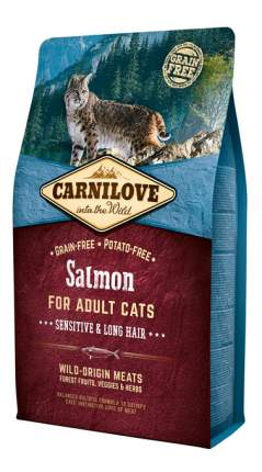 Сухой корм для кошек Carnilove Sensitive & Long Hair, лосось, 2кг