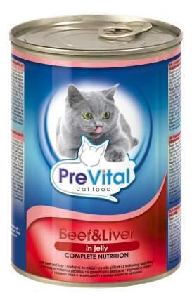 Консервы для кошек PreVital, говядина, печень, 12шт, 415г