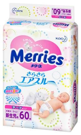 Подгузники для новорожденных Merries Air Through (0-5 кг), 60 шт.