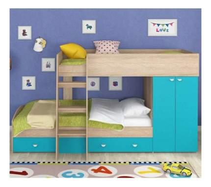 Двухъярусная кровать Golden Kids 2 дуб сонома/голубая