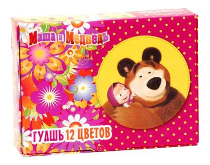 Гуашь Маша и медведь 12 цветов