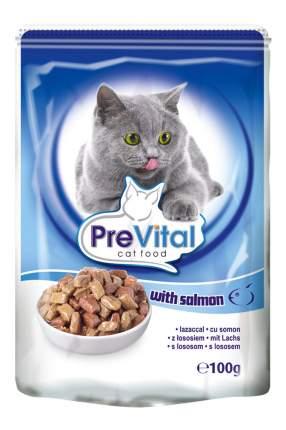 Влажный корм для кошек PreVital Classic, с лососем в соусе, 100г