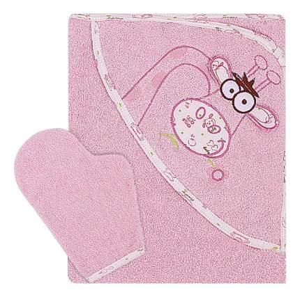 Полотенце детское Мотылек Жираф К24/2 розовое 100*110 см