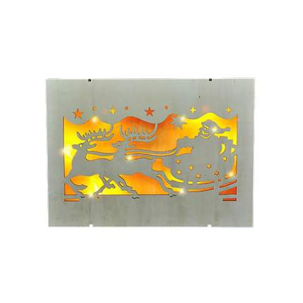 """Картина со светодиодами """"Упряжка Санты"""" с LED-огнями, 29*21 см, батарейка 372001"""
