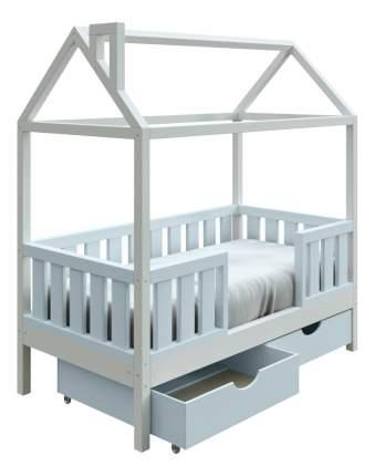 Кровать-домик Трурум KidS Сказка широкий бортик, ящики голубо-белая