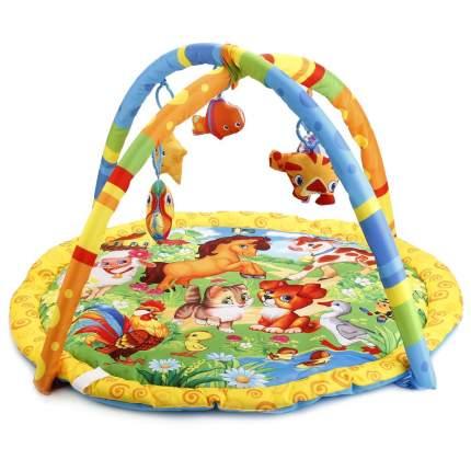Коврик детский Умка домашние животные, с мягкими игрушками на подвеске