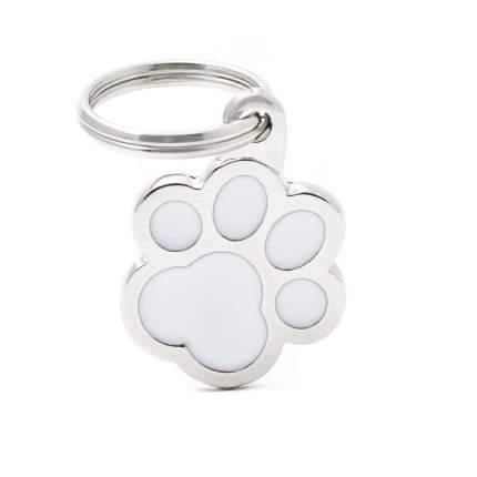 Адресник для кошек и собак My Family Colors Лапка, средний, цвет: белый