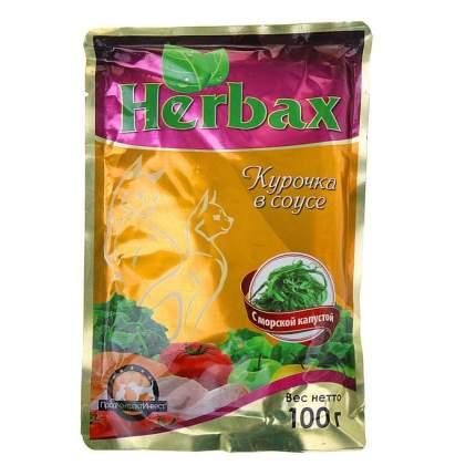 Влажный корм для кошек Herbax, курочка в соусе с морской капустой, 24шт по 100г