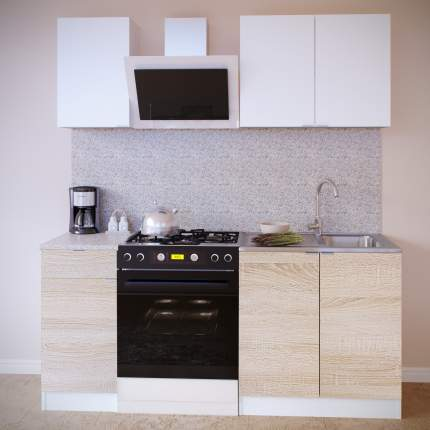 Прямой кухонный гарнитур Сокол ПН-04+ТК-04.1+ПН-08+ТК-08м Белый / Белый, Дуб сонома