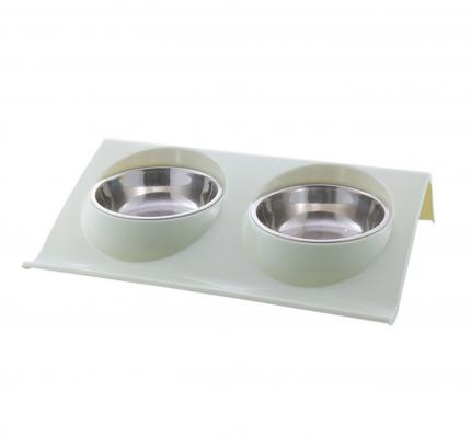 Миска для собак и кошек Nicovaer Смарт, двойная, зеленая, 600 мл